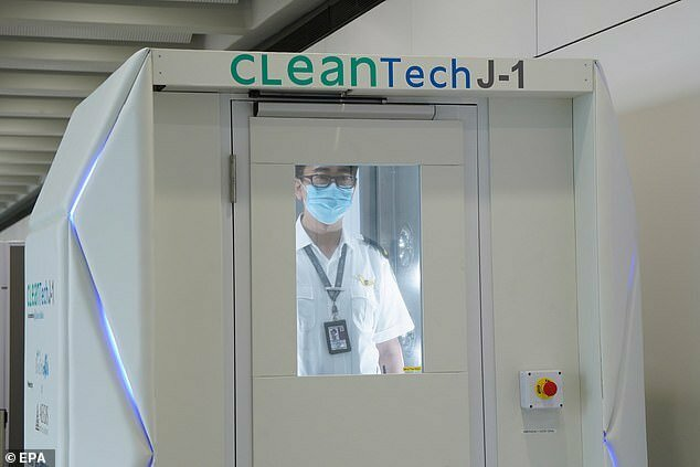 Hong Kong Airport Installs Full-Body Disinfecting Booths